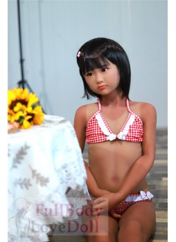 Sunburn special makeup Japanese cute girl 127 cm with flat body small boobs